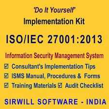 ISO/IEC 27001:2013 Documentation (Manual, Procedures, Forms) and Training Kit