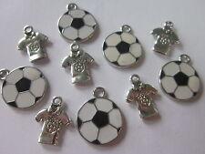 10 football theme tibetian silver enamel charms pendants t-shirt world cup