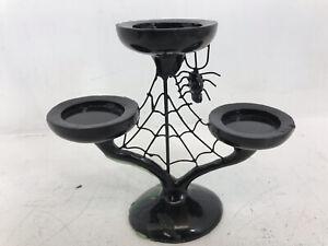 VTG Fun World Halloween Creepy Spider Web Candelabra Candle Holder