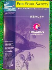 Safety Card HAWAIIAN AIRLINES Boeing B-717 Laminated, 2001 - Revised 7/04 *MINT*