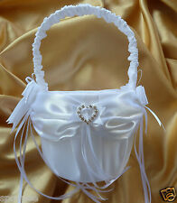 FLOWER GIRL BASKET WEDDING white satin square heart diamantes crystals baskets