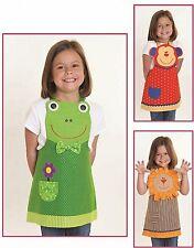 New Kid's Pattern  FROG MONKEY LION APRONS  Sizes 3 - 8