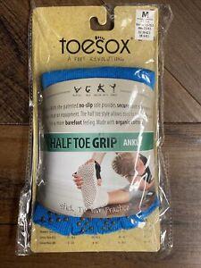 New TOESOX Women's ANKLE Half Toe Grip Toe Socks (SKYDIVER BLUE) Medium