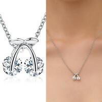 Trendy Korean süße Zirkon Kirsche Anhänger Halskette Schlüsselbein Choker Frauen