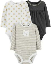 Carters Baby Girls 3-Pack Long Sleeve Bodysuit Color Multi Size 12 months