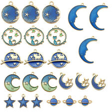 24Pcs/Set Enamel Cat Moon Star Earth Planet Charms Pendant DIY Jewelry Making_hz