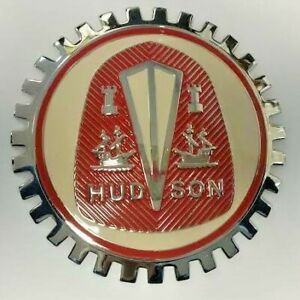 NEW Hudson Crest Grille Badge Emblem- All Models -Chromed Brass-Great gift item!