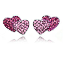 Two Tone Pink Crystal Pave Double Heart Post Stud Earrings Valentine's Day Gift