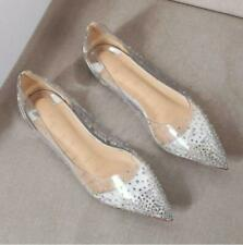 Womens Ballet Flats Casual Pointy Toe Clear Pumps Loafers Shoes Chic NEW