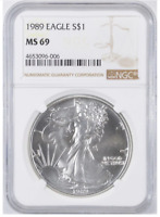 MS69 1989 American Silver Eagle - Graded NGC No Spots - Bright White