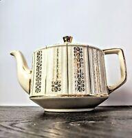 Vintage MCM Sadler England Ceramic Tea Pot Gold Trim