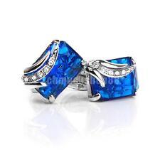 Herren Elegante Manschettenknöpfe Rechteck Blau Kristall Cufflinks Geschenk