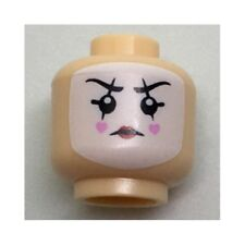 LEGO - Minifig, Head White Face Paint, Black Lines Through Eyes Hearts on Cheeks