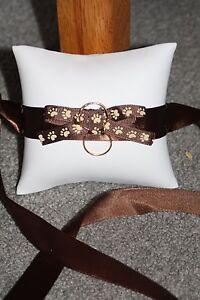 Brown Dog Doggy Ring Bearer Pillow Wedding White Paw Ribbon Gold Rings