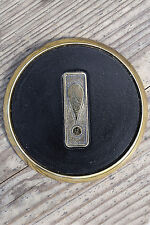 Vintage Heavy Brass Bar Coaster with Exclamation Mark Center and Black Leather