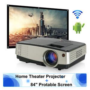 Android WiFi Video Projector Home Cinema 1080p Movie HDMI VGA USB + 100'' Screen