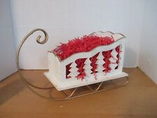 "White Antiqued WOODEN SLEIGH on Gold Metal Runners~15"" x 8"" x 9"""