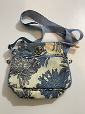 "BAGGALLINI Crossbody Organizer Shoulder Bag Blue Floral Ivory 10""x8""x4"""