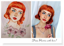 """Original Pencil Hand-Drawing from your photo 11"""" x 9"""" (A4) Pencil and watercolor"""