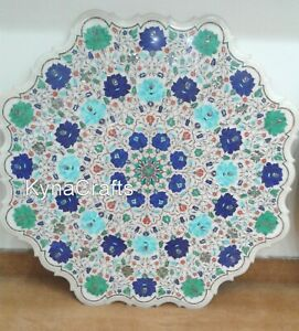 36 Inches Marble Hallway Table Multi Color Stone Inlaid Work Dining Table Top