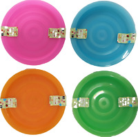 4 PLASTIC KIDS OUTDOOR PARTY PICNIC BBQ Plates  - COLOUR VARIES