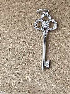 Tiffany 18K White Gold Crown Key Pendant