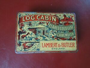 Vintage Log Cabin Tobacco tin, Lambert & Butler, Flaked Gold Leaf Cavendish