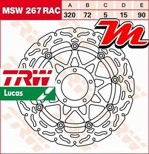 Disque de frein Avant TRW Lucas MSW 267 RAC pour Ducati 821 Hypermotard B1 2013-
