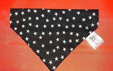Slide on dog bandanas size XS  black  with white stars. Polycotton handmade