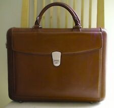 Levenger Executive Hand Sculptured Italian Leather Briefcase - Rare - 1995