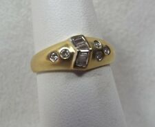 Satin Finish of this 14k Ring Band w/ Channel Set Baguette Diamonds & Round Dia