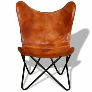 HANDMADE LEATHER BUTTERFLY CHAIR TAN COLOR RELAX ARM INDUSTRIAL CHAIR