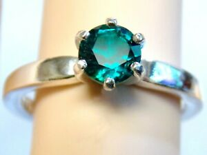 GREEN EMERALD RING SIZE 8  925 STERLING SILVER .85CT 6MM USA MADE