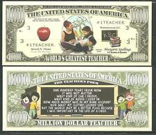 WORLDS GREATEST TEACHER 1 MILLION DOLLAR NOVELTY BILL BY AMERICAN ART CLASSICS