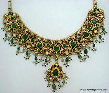 18k vintage antique old gold diamond polki gemstone necklace choker pendant
