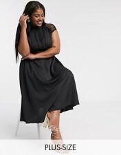 BNWTS Stunning Black Liquorish Curve High Neck Flowing A Line Dress Sz 24 £75