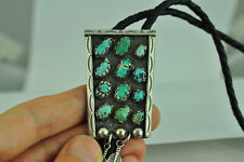 Large 925 Sterling Silver Native Pattern Genuine Turquoise Bolo Tie
