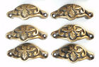 """6  Ant style Brass 2-3/8""""ctr Oak Leaf Apothecary Cabinet Drawer Handle Pulls #A3"""