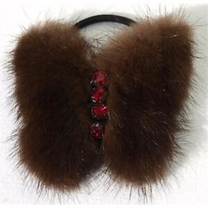 Mink Butterfly Fur Hair Bands Rhinestone Fashion Jewelry Trend Chocolate Red