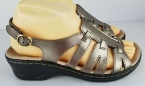 Collection By Clarks Soft Cushion Pewter Slingback Sandals 158707 Women Size 7W