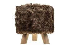 LUXURY WOODEN FOOTSTOOL OTTOMAN POUFFE STOOL FOOT REST PADDED SEAT BEDROOM ROUND
