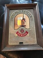 NEW VINTAGE Signature Stroh Strohs wood framed bar mirror sign pub man cave