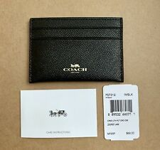 Authentic Coach F57312 Black Flat Card Case Holder Crossgrain Leather New