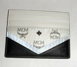 New Retired MCM White and Black Canvas Card Case Wallet