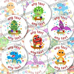 Personalised Dinosaur Stickers ANY TEXT Round Labels Dino Thank You Party Bag