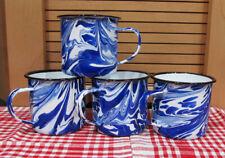 Blue Swirl Graniteware Enamel Coffee Cups Mugs 4pc Set Enamelware Cups NEW