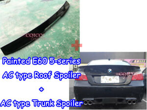 Painted BMW 04-10 E60 5-series A type trunk+ A type roof spoiler #668 Black◎