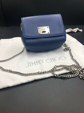 JIMMY CHOO 'Ruby' Small Blue Nappa Evening Cross Body Shoulder Handbag