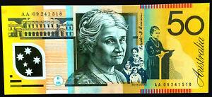 AUSTRALIA $50 BANKNOTE 2009 STEVENS + HENRY (FIRST PREFIX AA 09)  NOTES  X 1 UNC