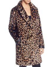 T TAHARI Faux Fur Leopard Faux Leather Trim Coat Size S NEW
